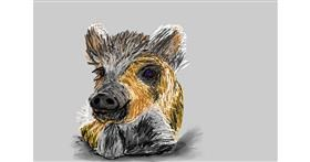 Wild boar drawing by Soaring Sunshine