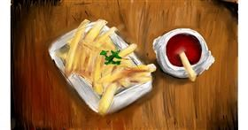 French fries drawing by Soaring Sunshine