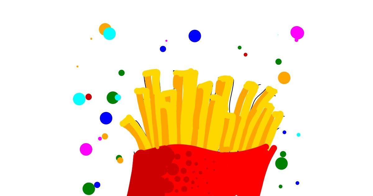 Drawing of French fries by Kanoon