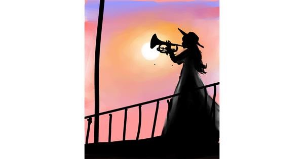 Trumpet drawing by Muni