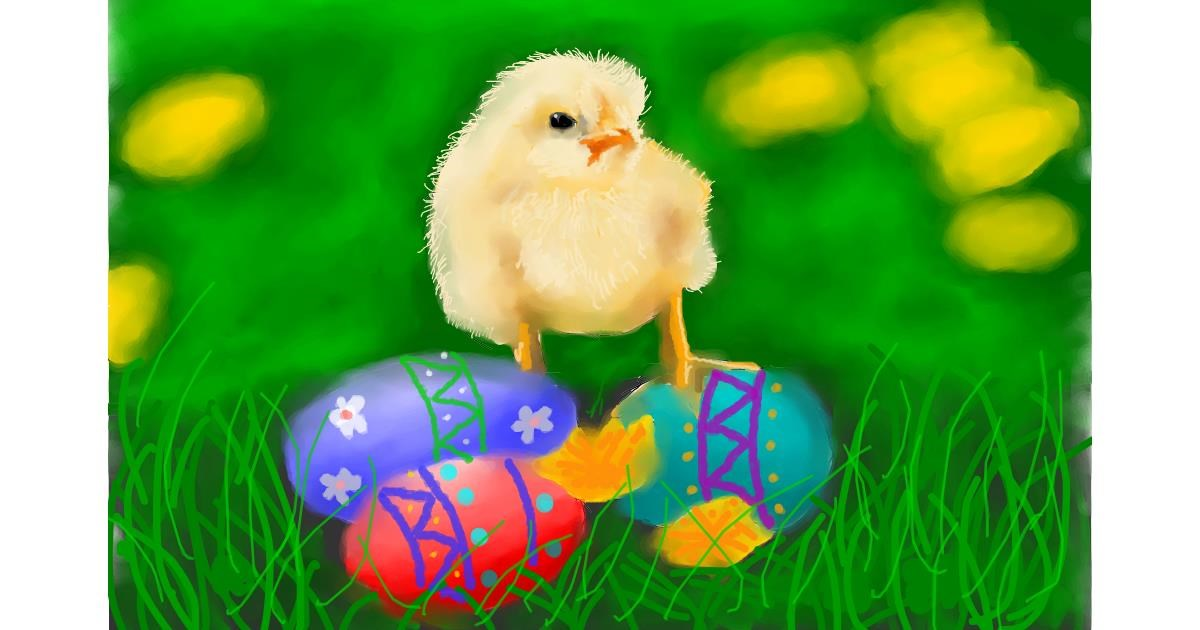 Drawing of Easter chick by Humo de copal