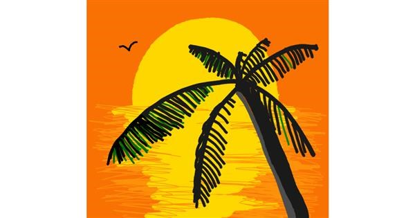 Palm tree drawing by Loves