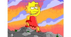 Drawing of Lisa Simpson by ThasMe13