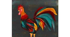 Rooster drawing by Freny
