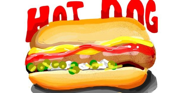 Hotdog drawing by Rain