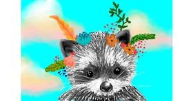 Raccoon drawing by Sirak Fish