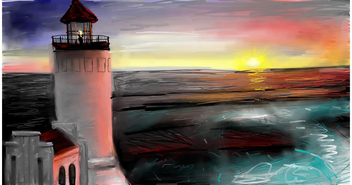 Drawing of Lighthouse by Soaring Sunshine