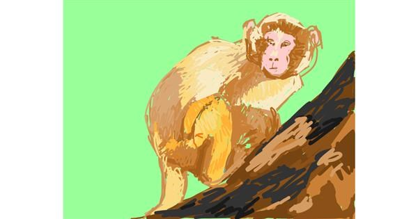 Monkey drawing by RonNNIEE