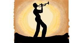 Trumpet drawing by Cherri