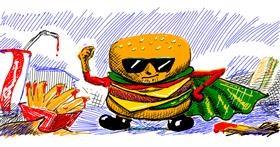 Burger drawing by aanturnip