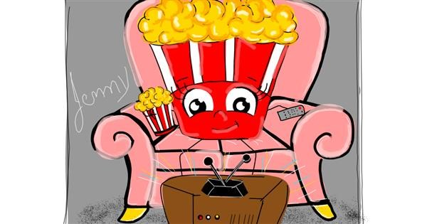 Popcorn drawing by Jennifreis