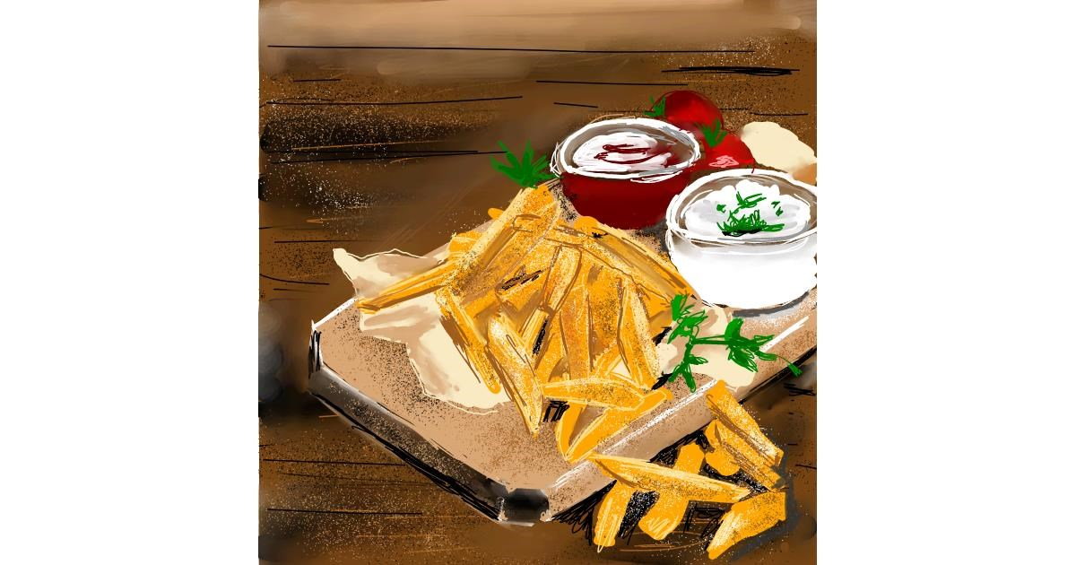 Drawing of French fries by Claria
