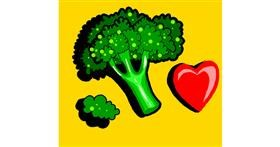 Broccoli drawing by Loves