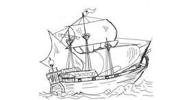 Boat drawing by Llama