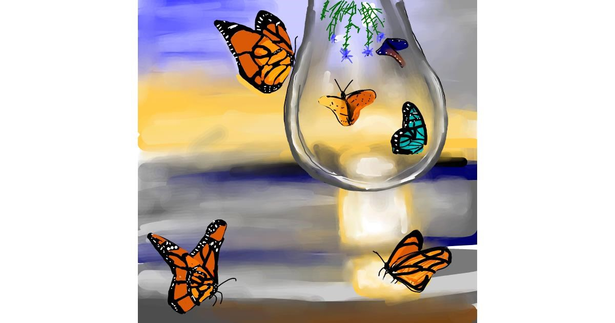 Butterfly drawing by Rose
