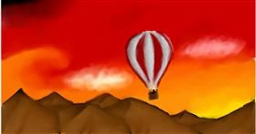 Drawing of Hot air balloon by Alpha