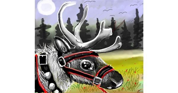 Reindeer drawing by Leah