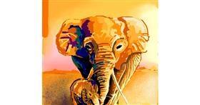 Elephant drawing by Elliev