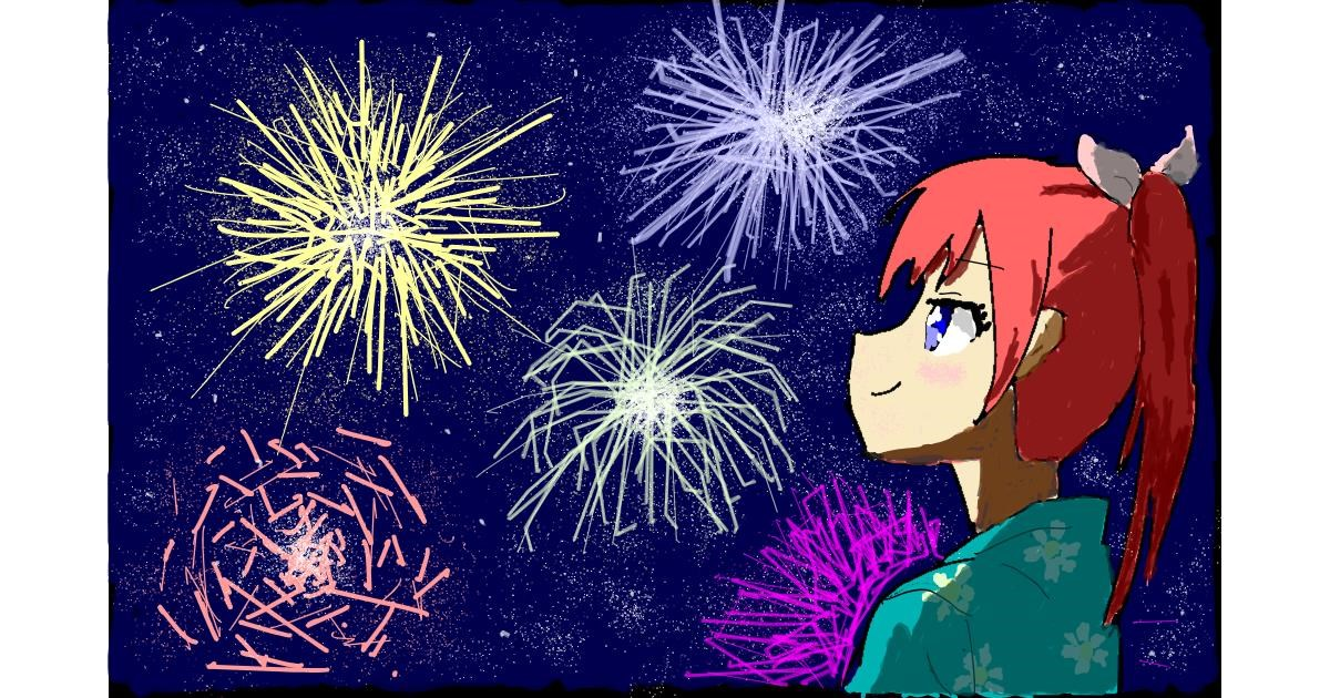 Fireworks drawing by Sam