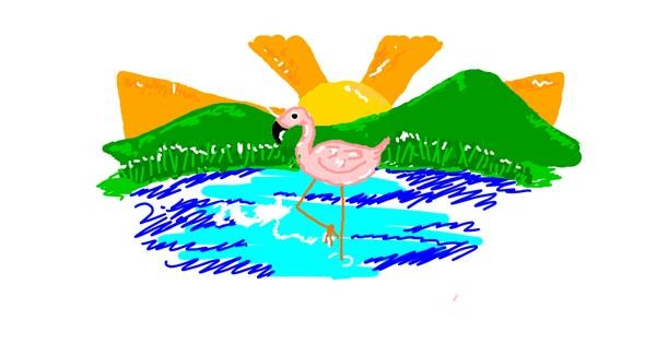 Flamingo drawing by Rosa