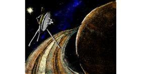 Saturn drawing by Mari