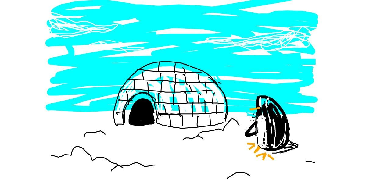 Igloo drawing by Blue Giraffe