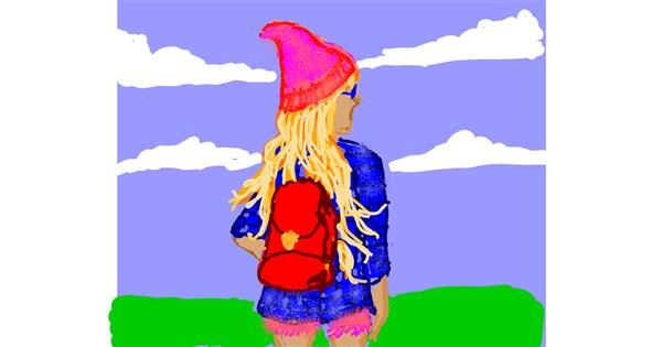 Backpack drawing by Cherri