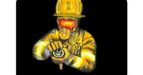 Firefighter drawing by Calaverita