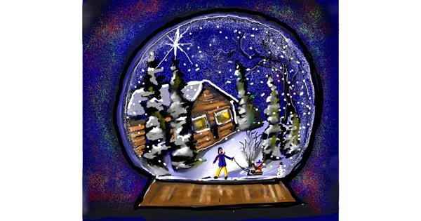 Snow globe drawing by Leah