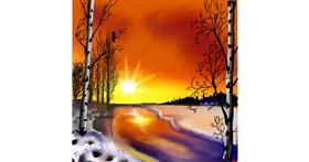 Drawing of Sunset by Leah