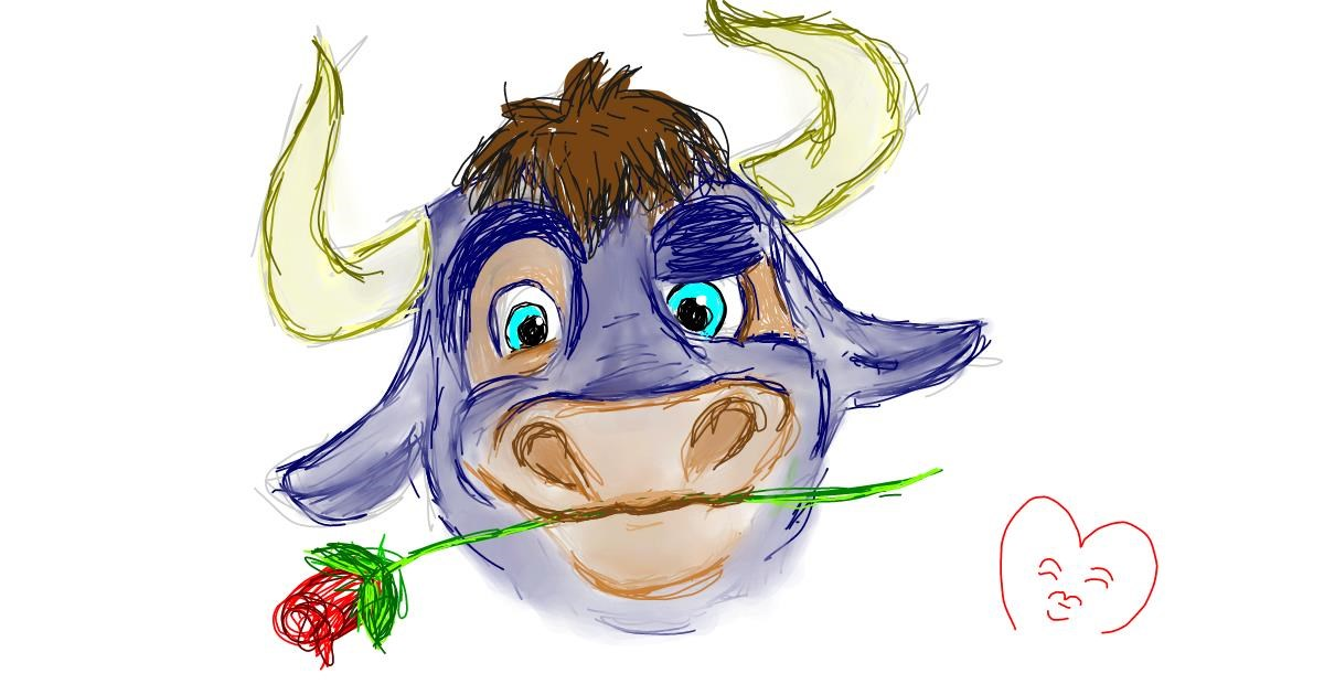 Bull drawing by Milk