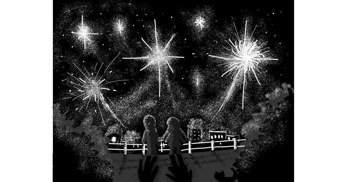 Fireworks drawing by The Joker