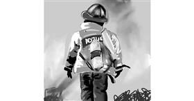 Firefighter drawing by Rose rocket