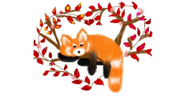 Red Panda drawing by Mitzi