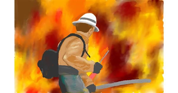 Firefighter drawing by GJP