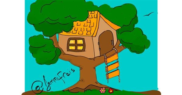 Treehouse drawing by Jennifreis