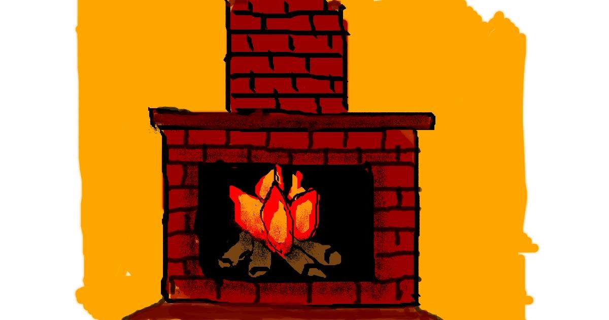 Fireplace drawing by Anonymous