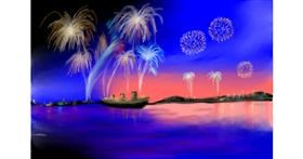 Drawing of Fireworks by Wizard