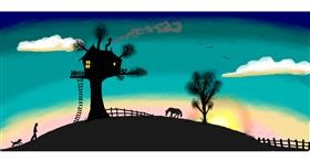 Drawing of Treehouse by Pinky