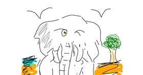 Elephant drawing by Fgy au guy go g