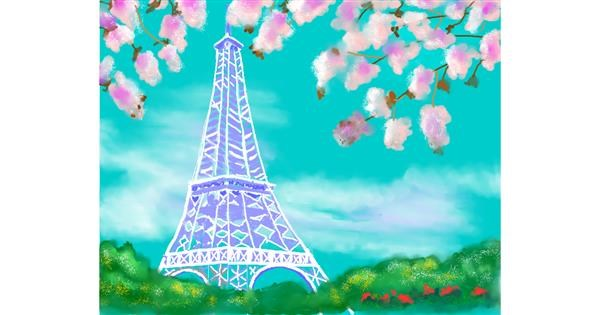 Eiffel Tower drawing by Cec