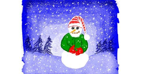 Snowman drawing by Cherri