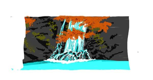 Waterfall drawing by Helena
