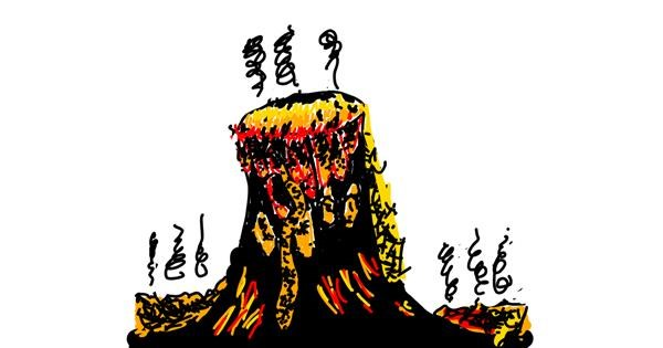 Volcano drawing by Lindsay