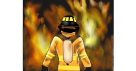 Firefighter drawing by Cec
