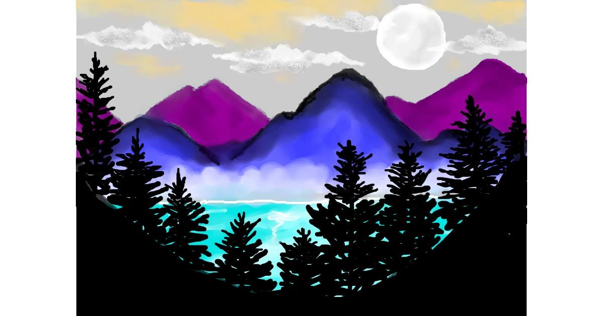 Drawing of Mountain by Debidolittle