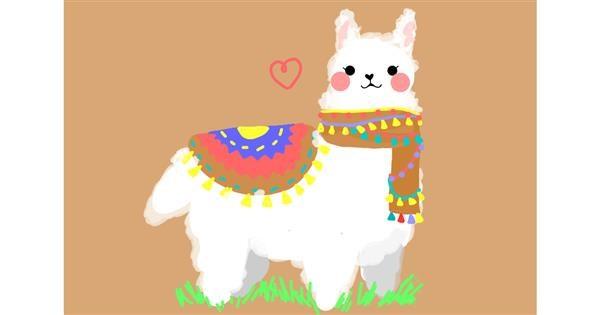 Llama drawing by Redd_Pandaii