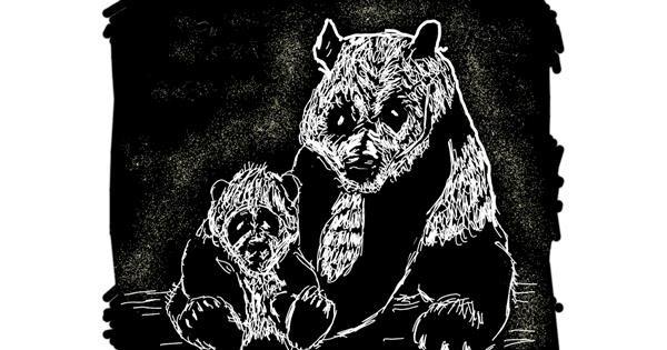 Panda drawing by Cherri