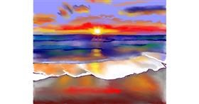 Drawing of Beach by Cec