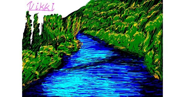 River drawing by Vikki